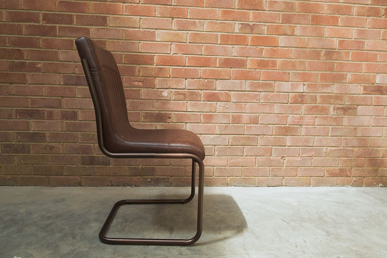 brown leather metal frame chair