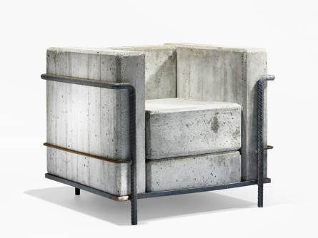 Le Corbusier's classic LC2 armchair that was made of solid concrete