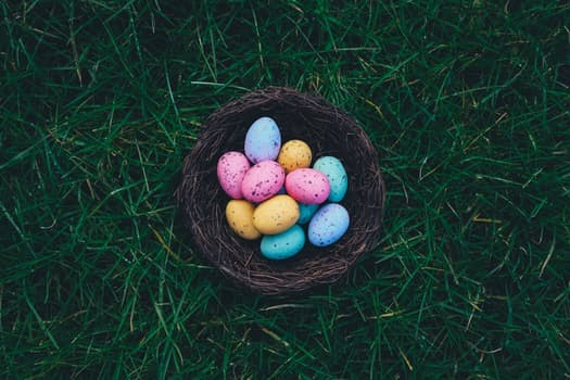 Easter egg basket with eggs as part of an egg hunt