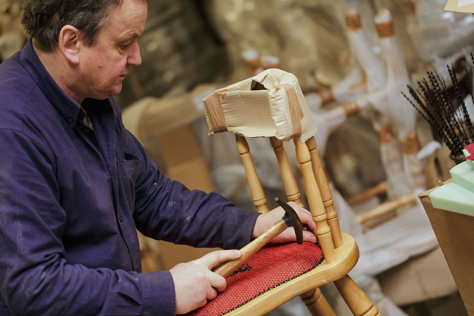 Expert upholsterers in action - Rob from Trent Furniture