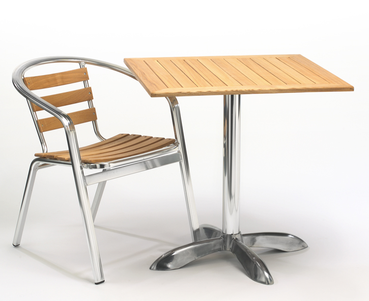 monaco wood effect stacking chair and outdoor capra table