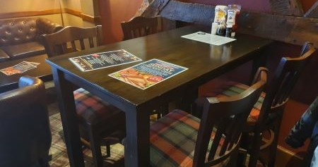 pub tables with menu on them