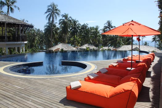 outdoors hotel pool and furniture