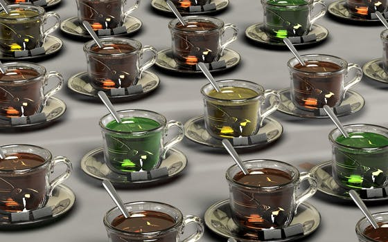 modern tea varieties in glass cups
