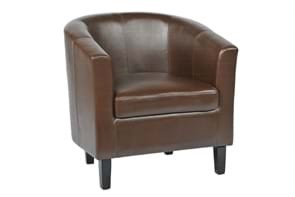 Brown faux leather tub chair for cafés