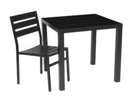 Water-resistant black aluminium table and chair for outdoor use