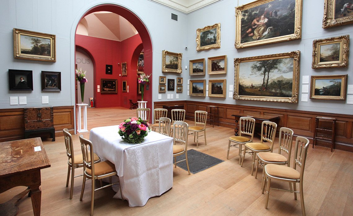 Wedding set-up at Dulwich Picture Gallery, London