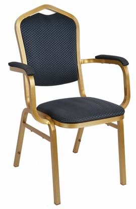 High Quality Buckingham Aluminium Gold Framed Stacking Armchair from Trent Furniture
