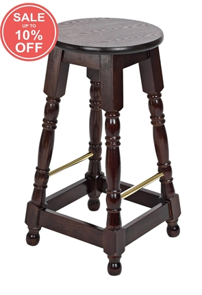 High Quality Tall Dark Oak Hard Top Brass Rail Stool from Trent Furniture | Pub Chair
