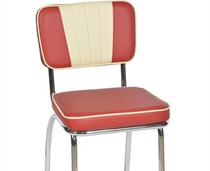 Tall American Diner Chair - Classic Red & Cream