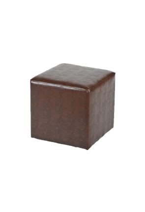 Cube Deluxe Chester Stool in Brown Faux Leather from Trent Furniture | Café Furniture