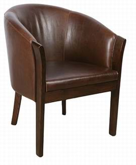 High Quality Brown Leather Bordeaux Tub Chair with Dark Oak legs from Trent Furniture