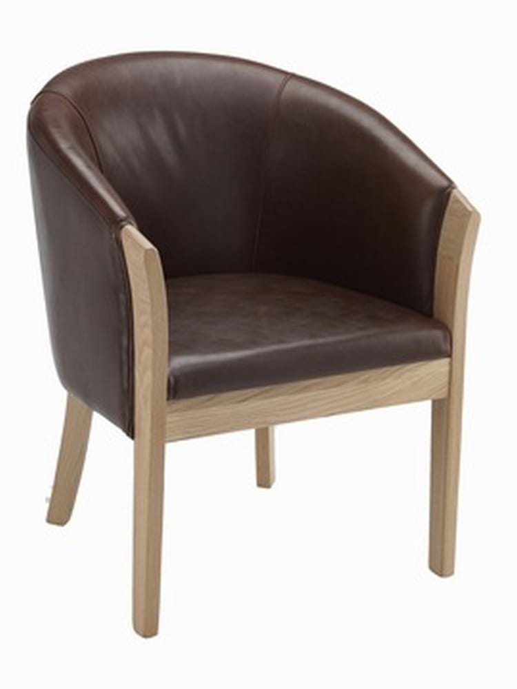 Brown Leather Bordeaux Tub Chair With Light Oak Legs - Tub chairs leather