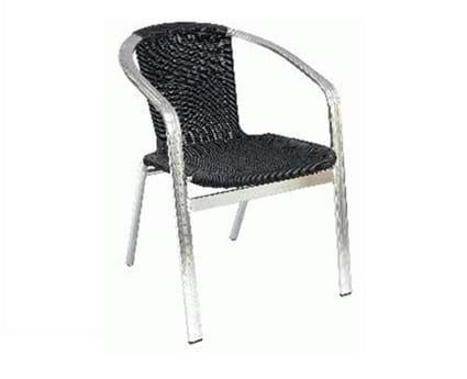 Monaco Black Wicker Stacking Chair