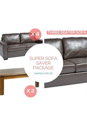 High Quality Super Sofa Saver Package 4x Faux Leather Restaurant Sofas 2x Coffee Tables