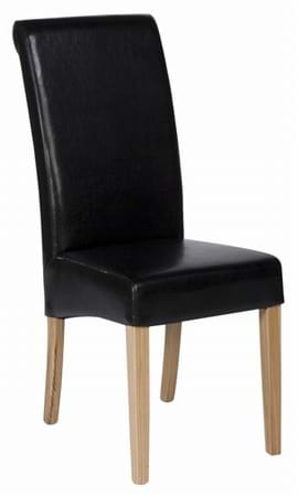 High Quality Black Leather Abbruzzo Restaurant Chair from Trent Furniture