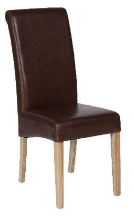 High Quality Brown Leather Abbruzzo Restaurant Chair with Light Oak Legs from Trent Furniture