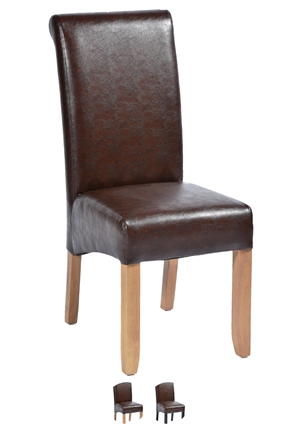 High Quality Brown Faux Leather Abbruzzo Restaurant Chair with Light Oak Legs from Trent Furniture