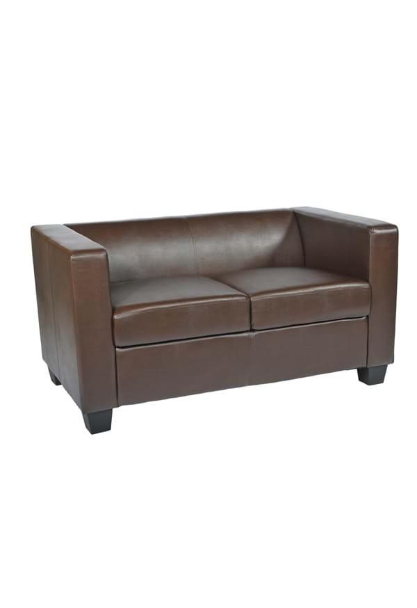 Cuban Brown Faux Leather Two Seater Sofa Trent Furniture