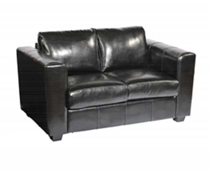 Manhattan Two Seater sofa in Black Faux Leather