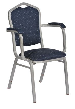 High Quality Buckingham Aluminium Stacking Armchair with Silver frame By Trent Furniture