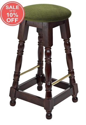 High Quality Tall Dark Oak Button Top Brass Rail Stool from Trent Furniture | Pub Chair
