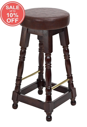 High Quality Tall Dark Oak Piped Top Brass Rail Stool from Trent Furniture | Pub Chair