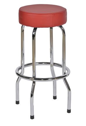 Tall Red and Chrome American Diner Stool