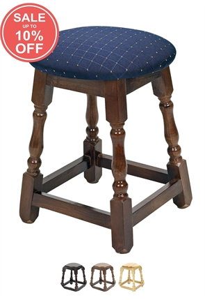 High Quality Small Button Top Wooden Stool from Trent Furniture | Pub Chair