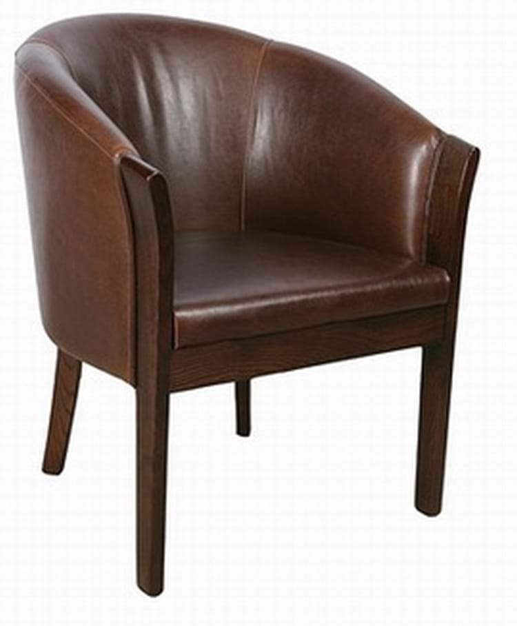 Gentil High Quality Brown Leather Bordeaux Tub Chair With Dark Oak Legs From Trent  Furniture