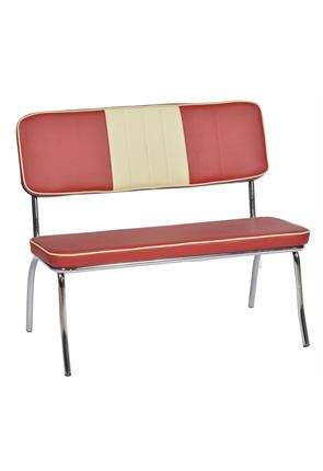 High Quality Red & Cream Two Seater American  Diner Chair From Trent Furniture.