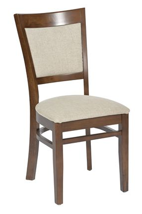 Contemporary restaurant chair with cream upholstery and walnut stain