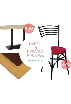 Black Napoli Chairs x40 and Black Pyramid Tables x10 from Trent Furniture | Café & Restaurant