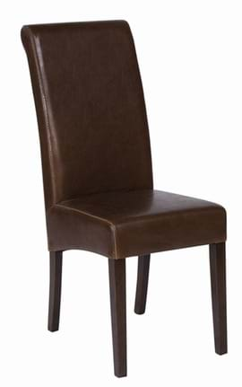 High Quality Brown Leather Abbruzzo Restaurant Chair with Dark Oak Legs from Trent Furniture
