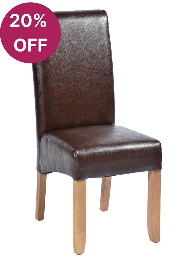 Abbruzzo in Brown Faux Leather, Light Oak Legs | Leather ...