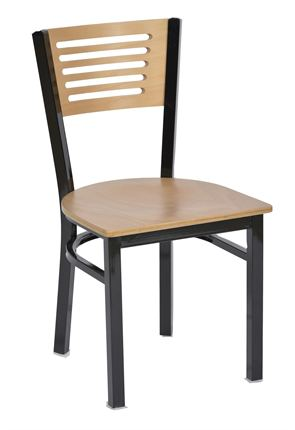Gloss black frame chair with wooden seat and back detail decor