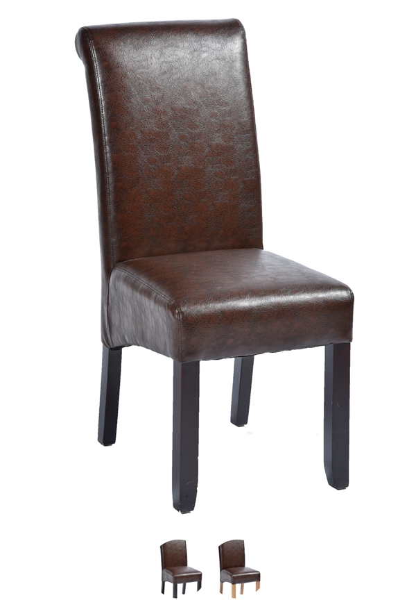 Abbruzzo In Brown Faux Leather Dark Oak Legs Leather Chairs