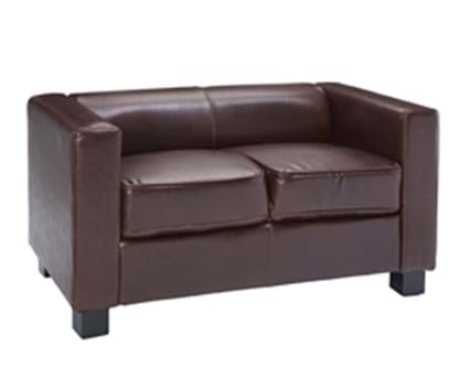 Cuban Brown Faux Leather Two Seater Sofa