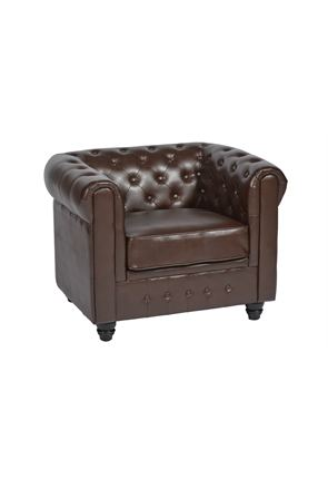 Brown Faux Leather Armchair Chesterfield Style