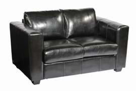 High Quality Manhattan Black Faux Leather Two Seater Restaurant Sofa from Trent Furniture